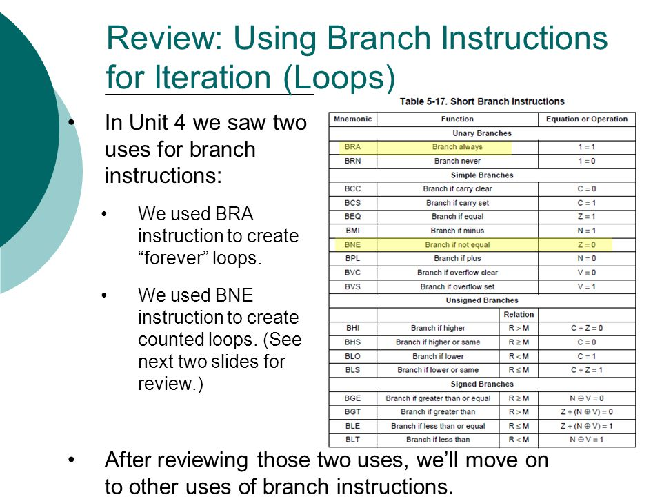 """Review: Using Branch Instructions for Iteration (Loops) In Unit 4 we saw two uses for branch instructions: We used BRA instruction to create """"forever"""""""
