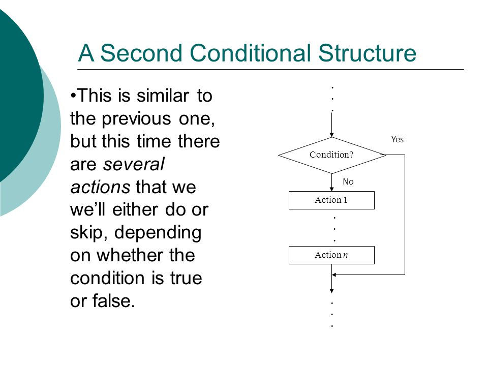 A Second Conditional Structure Action 1 Condition? No Yes Action n.................. This is similar to the previous one, but this time there are seve