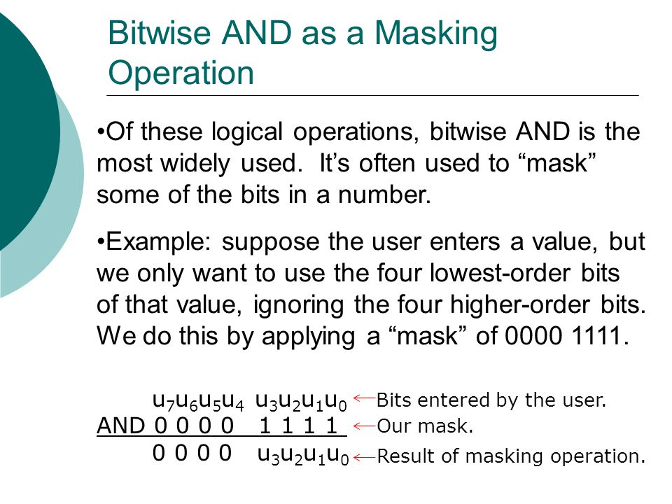 """Of these logical operations, bitwise AND is the most widely used. It's often used to """"mask"""" some of the bits in a number. Example: suppose the user en"""