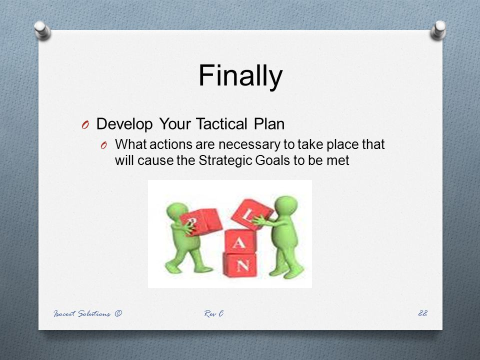 Finally O Develop Your Tactical Plan O What actions are necessary to take place that will cause the Strategic Goals to be met Isocert Solutions © Rev