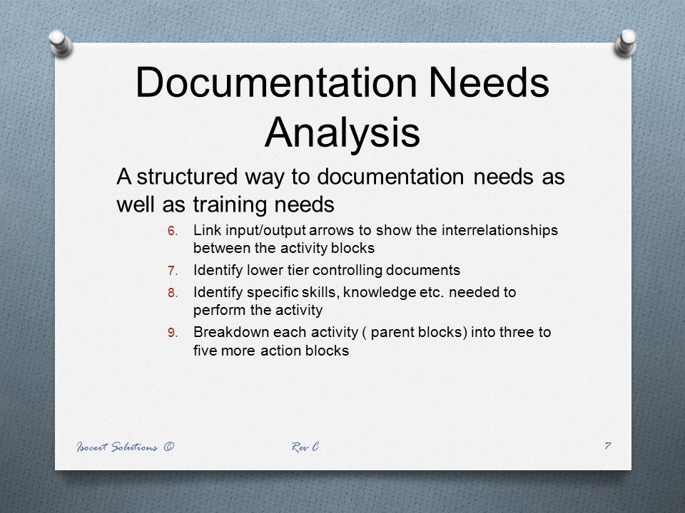 Documentation Needs Analysis A structured way to documentation needs as well as training needs 6. Link input/output arrows to show the interrelationsh
