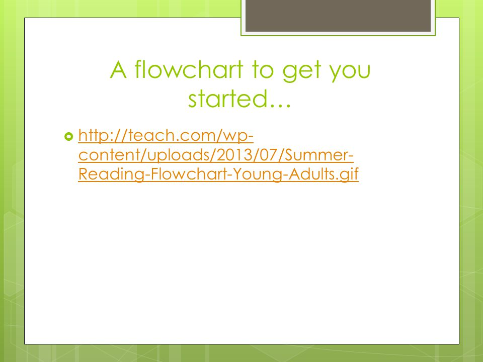 A flowchart to get you started…  http://teach.com/wp- content/uploads/2013/07/Summer- Reading-Flowchart-Young-Adults.gif http://teach.com/wp- content/uploads/2013/07/Summer- Reading-Flowchart-Young-Adults.gif