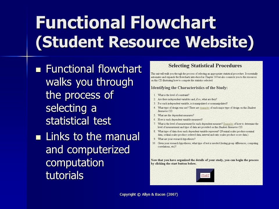 Copyright © Allyn & Bacon (2007) Functional Flowchart (Student Resource Website) Functional flowchart walks you through the process of selecting a statistical test Functional flowchart walks you through the process of selecting a statistical test Links to the manual and computerized computation tutorials Links to the manual and computerized computation tutorials