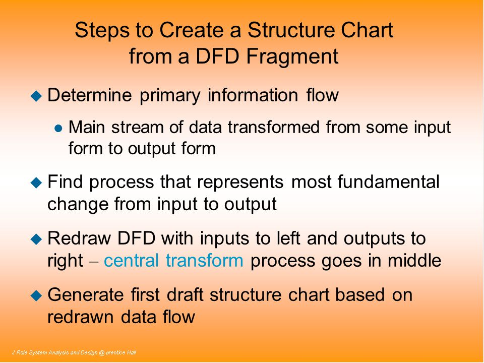 Steps to Create a Structure Chart from a DFD Fragment u Determine primary information flow l Main stream of data transformed from some input form to output form u Find process that represents most fundamental change from input to output  Redraw DFD with inputs to left and outputs to right – central transform process goes in middle u Generate first draft structure chart based on redrawn data flow