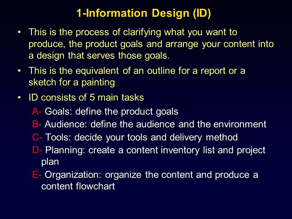 1-Information Design Results of this stage are:Results of this stage are: –Requirements and goals –Content definition –Content outline –Logic flow definition –A project plan