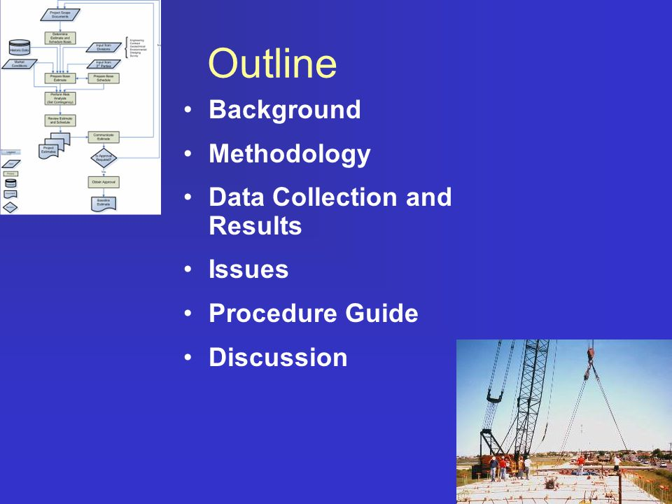 Outline Background Methodology Data Collection and Results Issues Procedure Guide Discussion