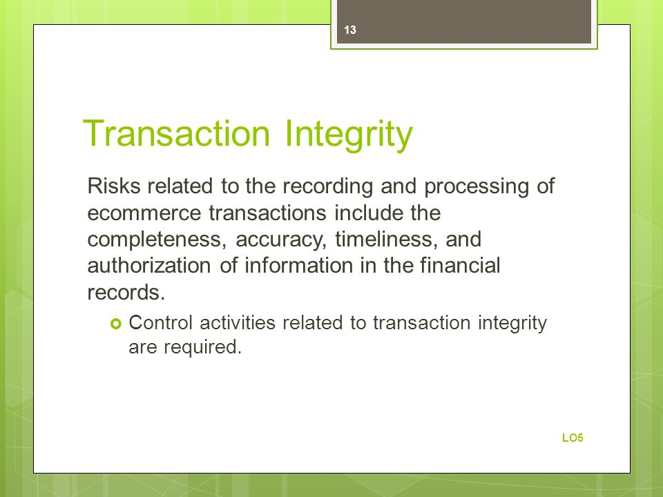 Transaction Integrity Risks related to the recording and processing of ecommerce transactions include the completeness, accuracy, timeliness, and auth