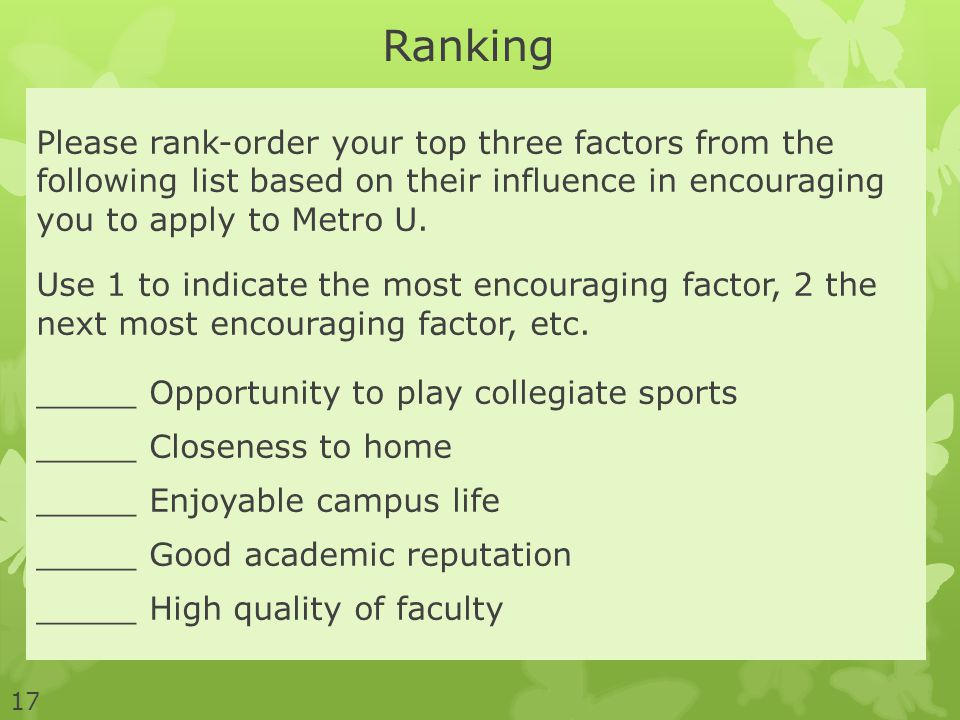 Please rank-order your top three factors from the following list based on their influence in encouraging you to apply to Metro U. Use 1 to indicate th