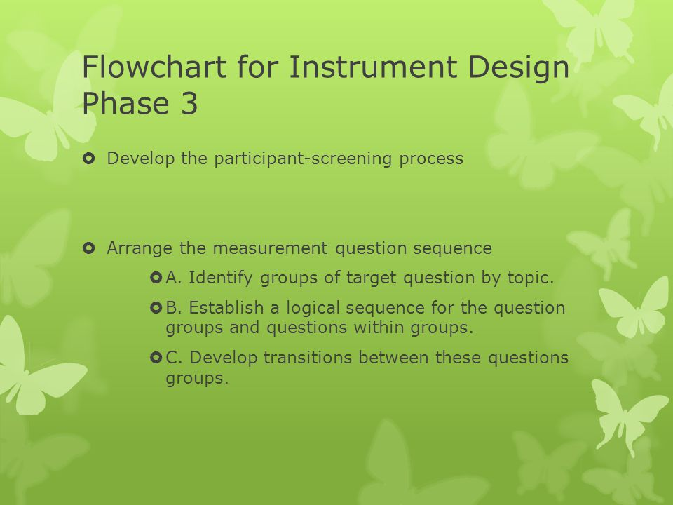 Flowchart for Instrument Design Phase 3  Develop the participant-screening process  Arrange the measurement question sequence  A. Identify groups o