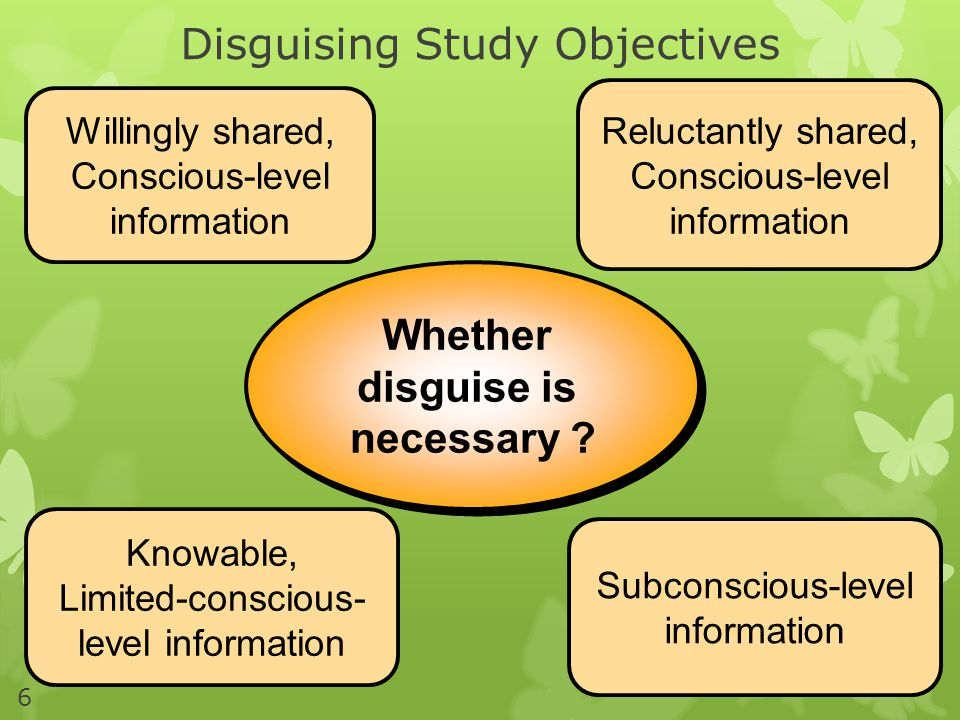 Disguising Study Objectives 6 Whether disguise is necessary .