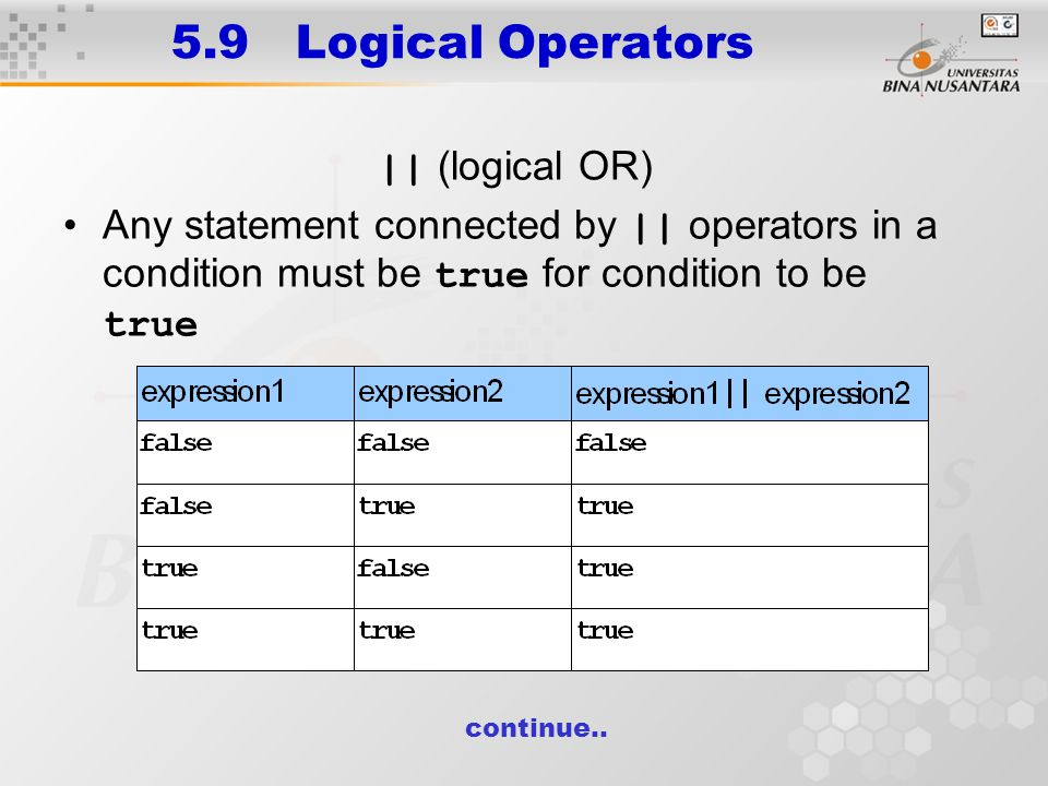 5.9 Logical Operators || (logical OR) Any statement connected by || operators in a condition must be true for condition to be true continue..