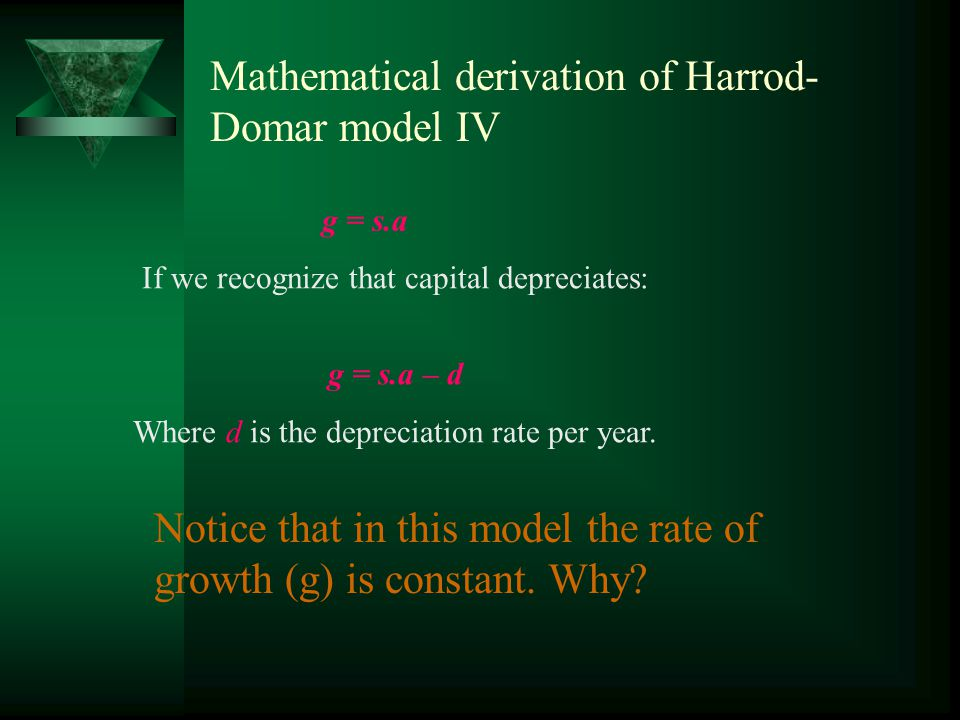 Mathematical derivation of Harrod- Domar model (3) What we need to know is how capital changes.
