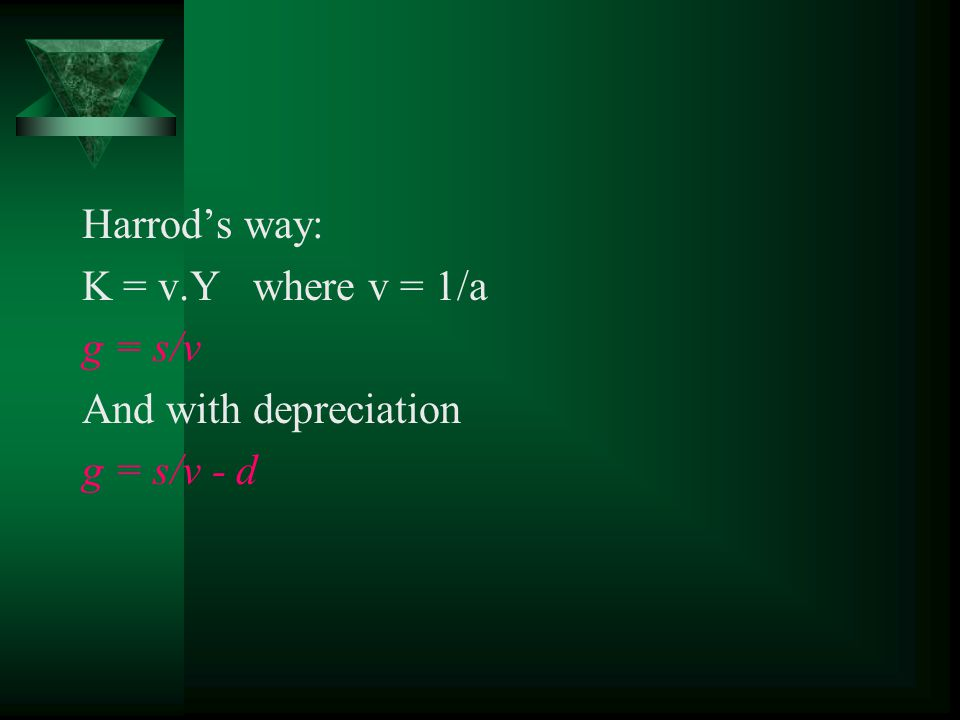 Mathematical derivation of Harrod- Domar model IV g = s.a If we recognize that capital depreciates: g = s.a – d Where d is the depreciation rate per year.