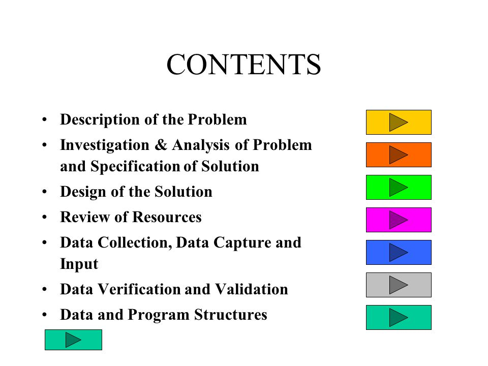 CONTENTS - cont Output Format Testing of the Solution Documentation of the Solution Evaluation of the Solution Printouts