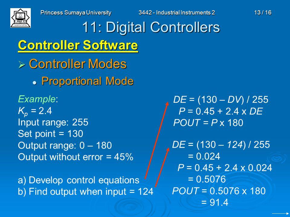 Princess Sumaya University3442 - Industrial Instruments 213 / 16 11: Digital Controllers Controller Software  Controller Modes Proportional Mode Proportional Mode Example: K p = 2.4 Input range: 255 Set point = 130 Output range: 0 – 180 Output without error = 45% a) a)Develop control equations b) b)Find output when input = 124 DE = (130 – DV) / 255 P = 0.45 + 2.4 x DE POUT = P x 180 DE = (130 – 124) / 255 = 0.024 P = 0.45 + 2.4 x 0.024 = 0.5076 POUT = 0.5076 x 180 = 91.4