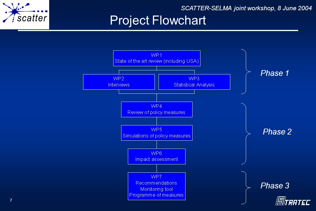 SCATTER-SELMA joint workshop, 8 June 2004 7 Project Flowchart Phase 1 Phase 2 Phase 3