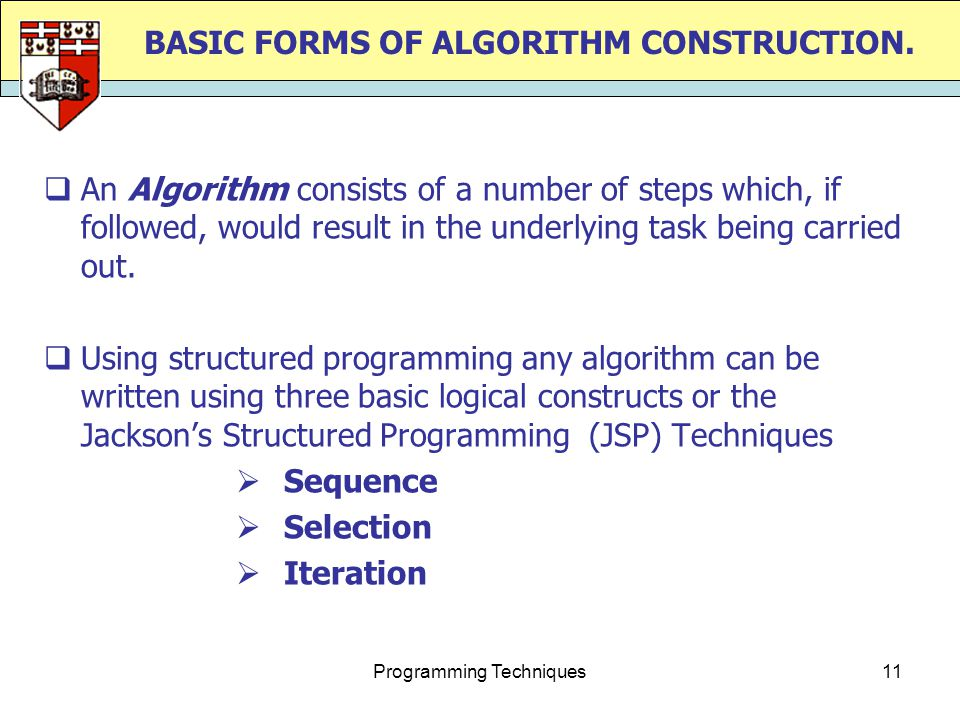 Programming Techniques11 BASIC FORMS OF ALGORITHM CONSTRUCTION.
