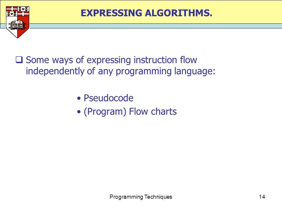 Programming Techniques14 EXPRESSING ALGORITHMS.