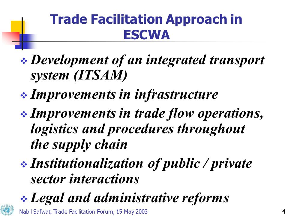 Nabil Safwat, Trade Facilitation Forum, 15 May 20034 Trade Facilitation Approach in ESCWA  Development of an integrated transport system (ITSAM)  Improvements in infrastructure  Improvements in trade flow operations, logistics and procedures throughout the supply chain  Institutionalization of public / private sector interactions  Legal and administrative reforms