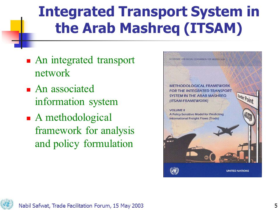 Nabil Safwat, Trade Facilitation Forum, 15 May 20035 Integrated Transport System in the Arab Mashreq (ITSAM) An integrated transport network An associated information system A methodological framework for analysis and policy formulation