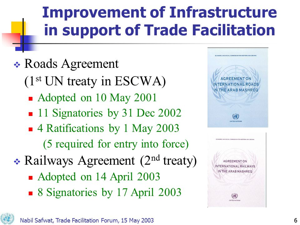 Nabil Safwat, Trade Facilitation Forum, 15 May 20036 Improvement of Infrastructure in support of Trade Facilitation  Roads Agreement (1 st UN treaty in ESCWA) Adopted on 10 May 2001 11 Signatories by 31 Dec 2002 4 Ratifications by 1 May 2003 (5 required for entry into force)  Railways Agreement (2 nd treaty) Adopted on 14 April 2003 8 Signatories by 17 April 2003
