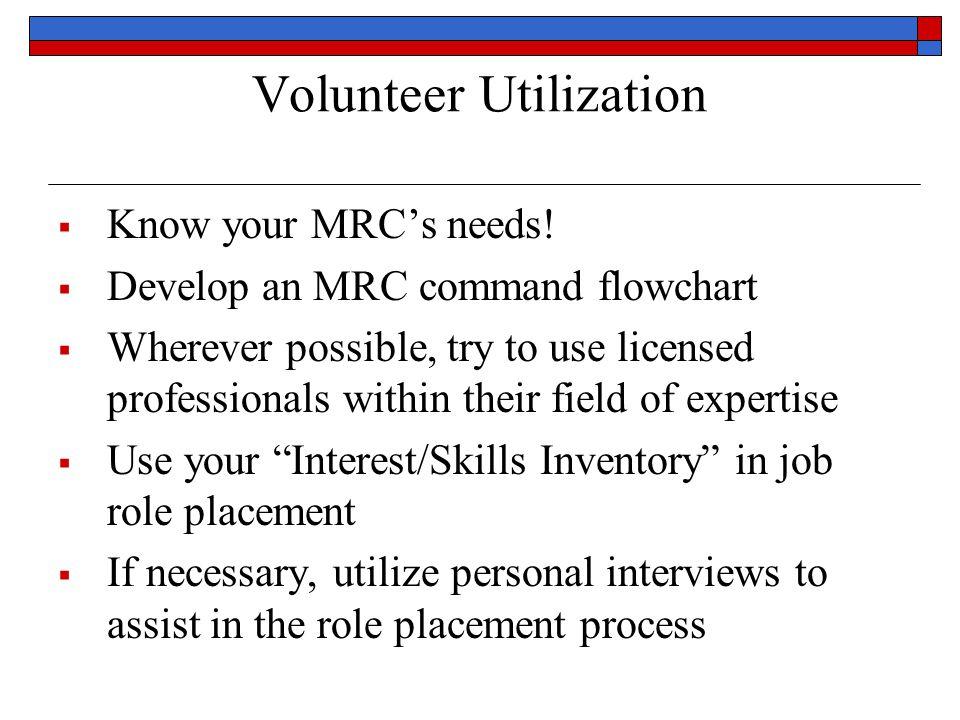 Volunteer Utilization  Know your MRC's needs.