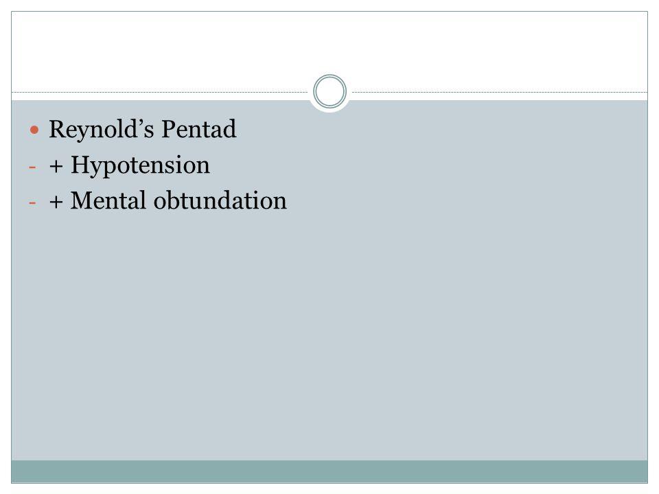 Reynold's Pentad - + Hypotension - + Mental obtundation