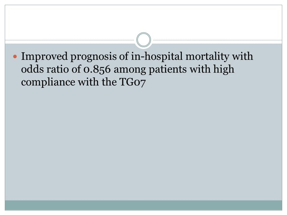 Improved prognosis of in-hospital mortality with odds ratio of 0.856 among patients with high compliance with the TG07