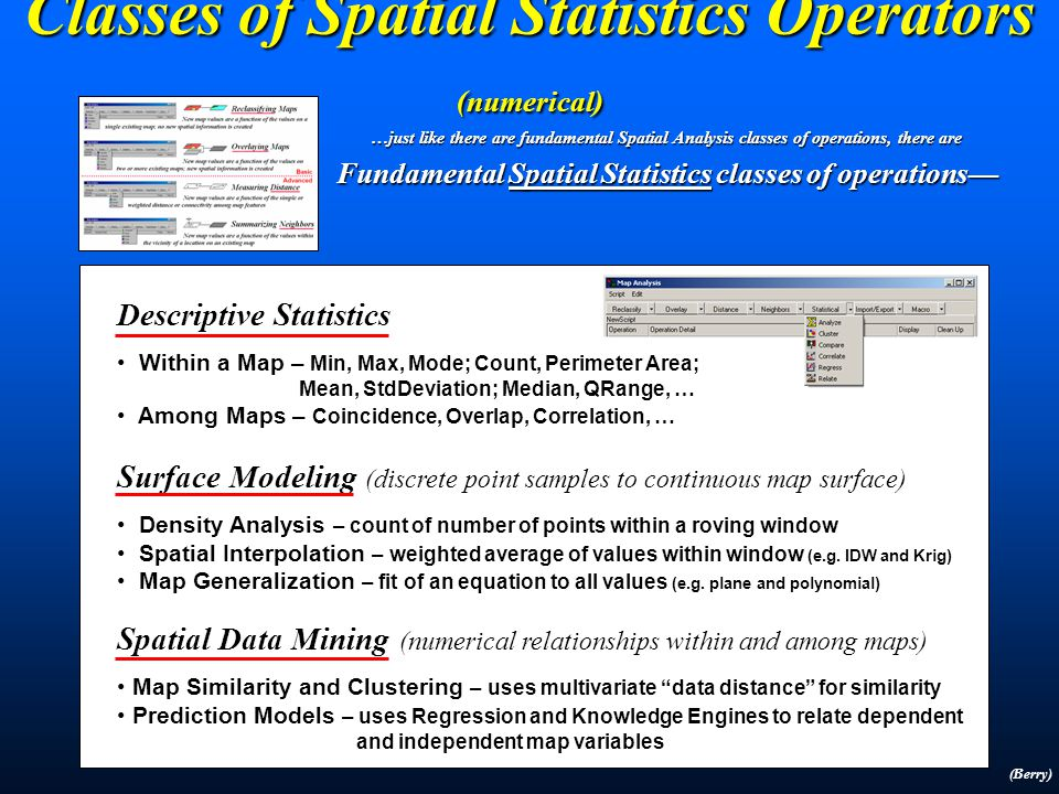 Mapped Data Analysis (SA and SS) Traditional Statistics Mean, StDev (Normal Curve) Mean, StDev (Normal Curve) Central Tendency Central Tendency Typical Response (scalar) Typical Response (scalar) Minimum= 5.4 ppm Maximum= 103.0 ppm Mean= 22.4 ppm StDEV= 15.5 Traditional GIS Points, Lines, Polygons Points, Lines, Polygons Discrete Objects Discrete Objects Mapping and Geo-query Mapping and Geo-query Forest Inventory Map Spatial Analysis Cells, Surfaces Cells, Surfaces Continuous Geographic Space Continuous Geographic Space Contextual Spatial Relationships Contextual Spatial Relationships Erosion Potential (Surface) Spatial Statistics Map of Variance (gradient) Map of Variance (gradient) Spatial Distribution Spatial Distribution Numerical Spatial Relationships Numerical Spatial Relationships Spatial Distribution (Surface)