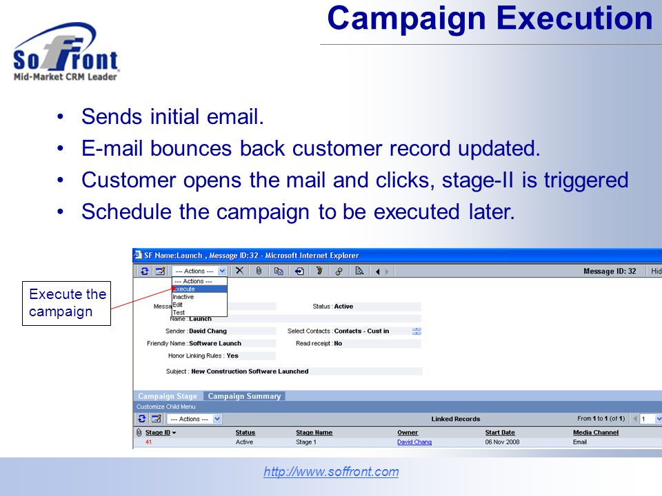 Campaign Execution Sends initial email. E-mail bounces back customer record updated.