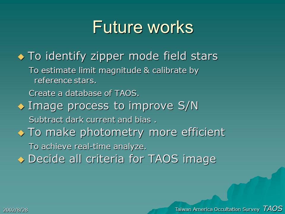 Taiwan America Occultation Survey TAOS 2002/8/28 Future works  To identify zipper mode field stars To estimate limit magnitude & calibrate by To estimate limit magnitude & calibrate by reference stars.