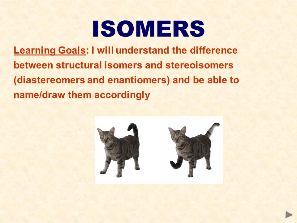 ISOMERS Learning Goals: I will understand the difference between structural isomers and stereoisomers (diastereomers and enantiomers) and be able to name/draw them accordingly