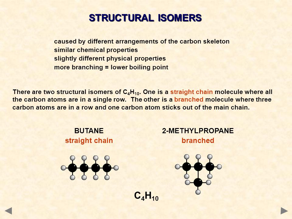 caused by different arrangements of the carbon skeleton similar chemical properties slightly different physical properties more branching = lower boiling point There are two structural isomers of C 4 H 10.