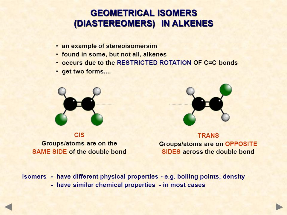 GEOMETRICAL ISOMERS (DIASTEREOMERS) IN ALKENES an example of stereoisomersim found in some, but not all, alkenes occurs due to the RESTRICTED ROTATION OF C=C bonds get two forms....