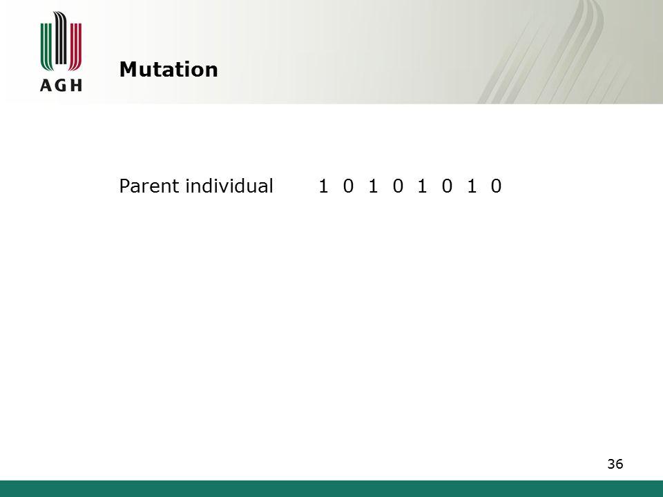 Mutation Parent individual1 0 1 0 1 0 1 0 36
