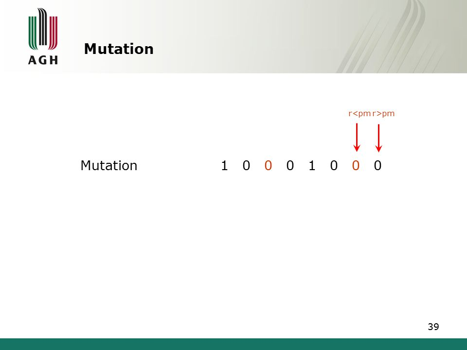 Mutation Parent individual1 0 1 0 1 0 1 0 Descendant individual1 0 0 0 1 0 0 0 40