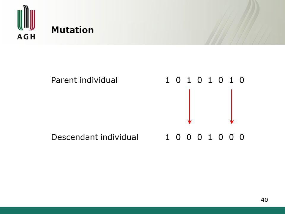 Genetic algorithm After mutation, completion individuals are recorded in the descendant population, which becomes the baseline population for the next algorithm iteration.