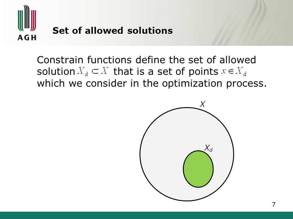 Obtained solution Solution is called global minimum if, for all Solution is called local minimum if there is a neighbourhood N of such that for all Global minimum as well as local minimum is never exact due to limited accuracy of numerical methods and round off error 8