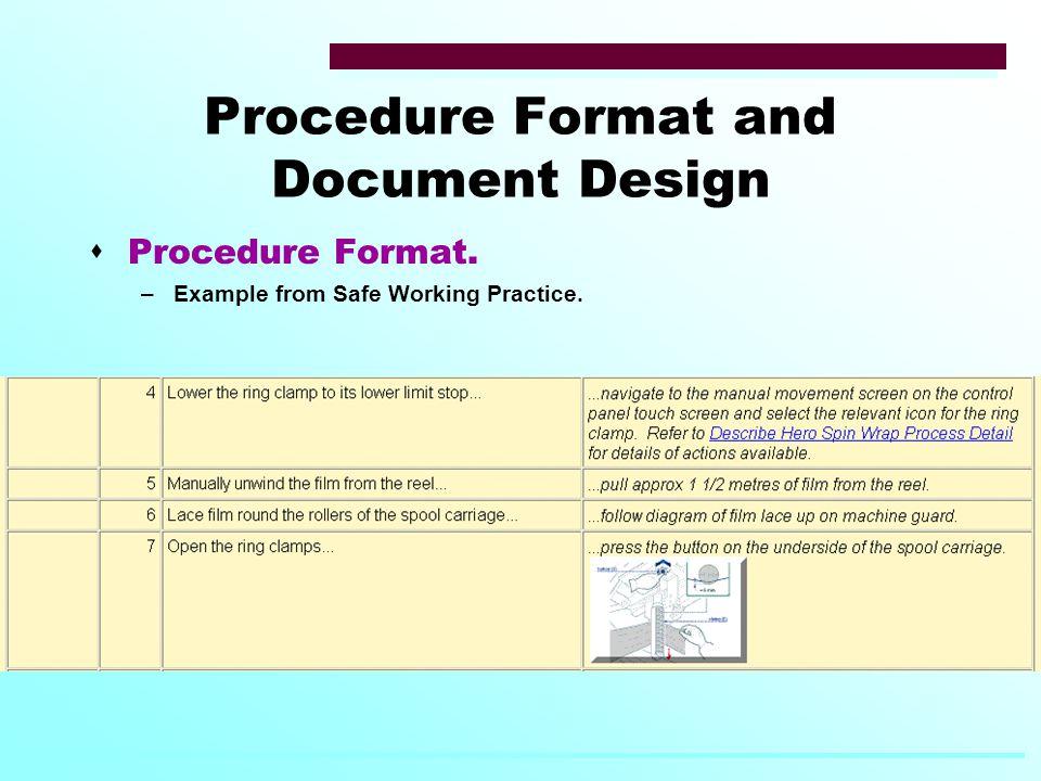 Procedure Format and Document Design  Procedure Format. –Example from Safe Working Practice.
