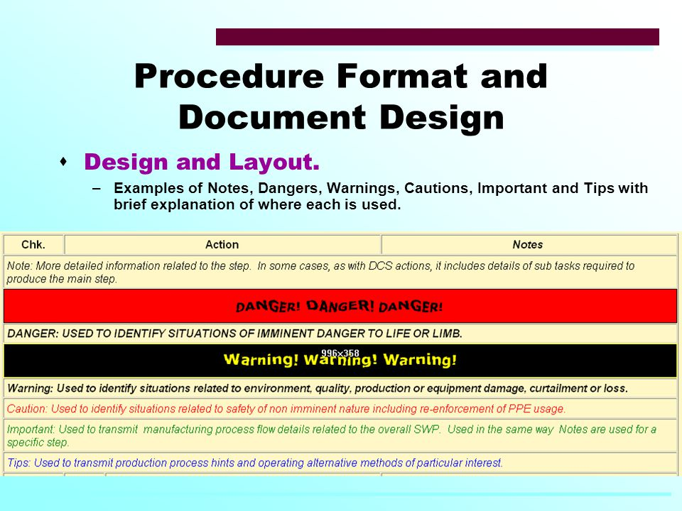 Procedure Format and Document Design  Design and Layout.