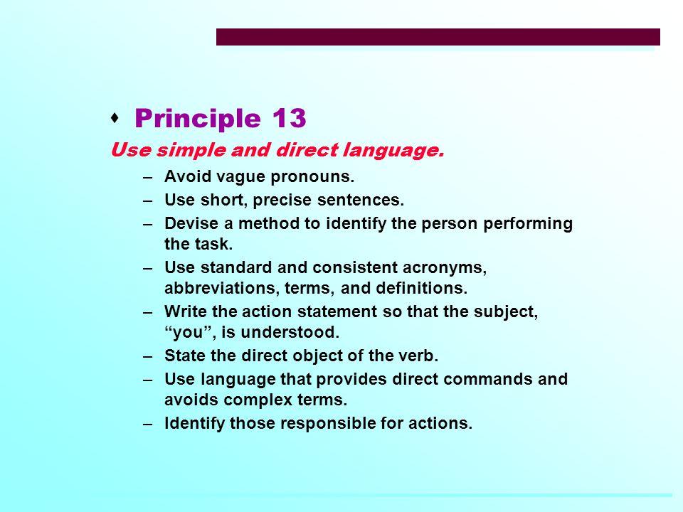  Principle 13 Use simple and direct language. –Avoid vague pronouns.