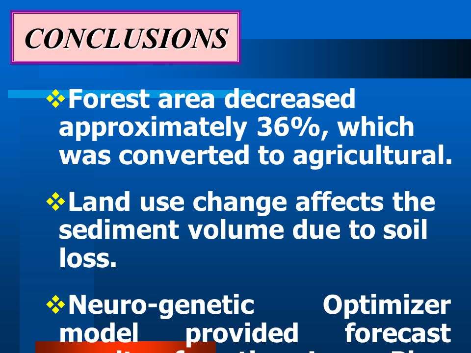  Forest area decreased approximately 36%, which was converted to agricultural.
