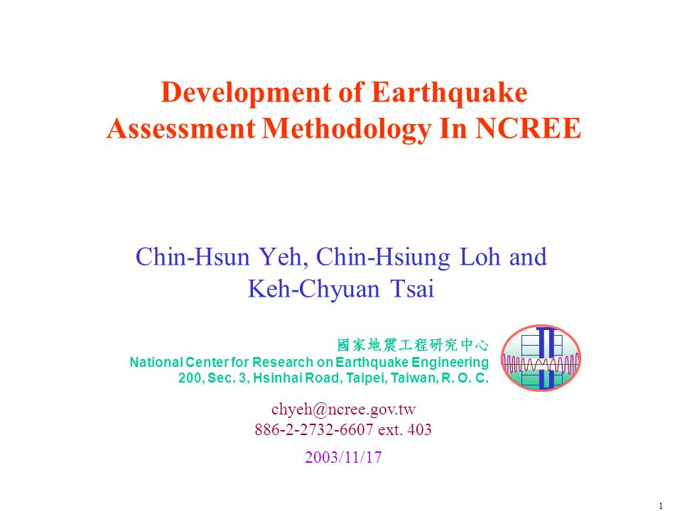 NCREE Development of Earthquake Assessment Methodology in NCREE, Yeh2003/11/1722 Building Damage Statistics in Counties County1~3-story4~7-story> 8-storySumRatio 台中縣 17,0001,3003418,33447 南投縣 9,30038059,68524 台中市 5,6009401306,67017 彰化縣 2,30032082,6287 苗栗縣 1,2008011,2813 雲林縣 7407428162 嘉義縣 120611270 Total37,0003,10018040,000100