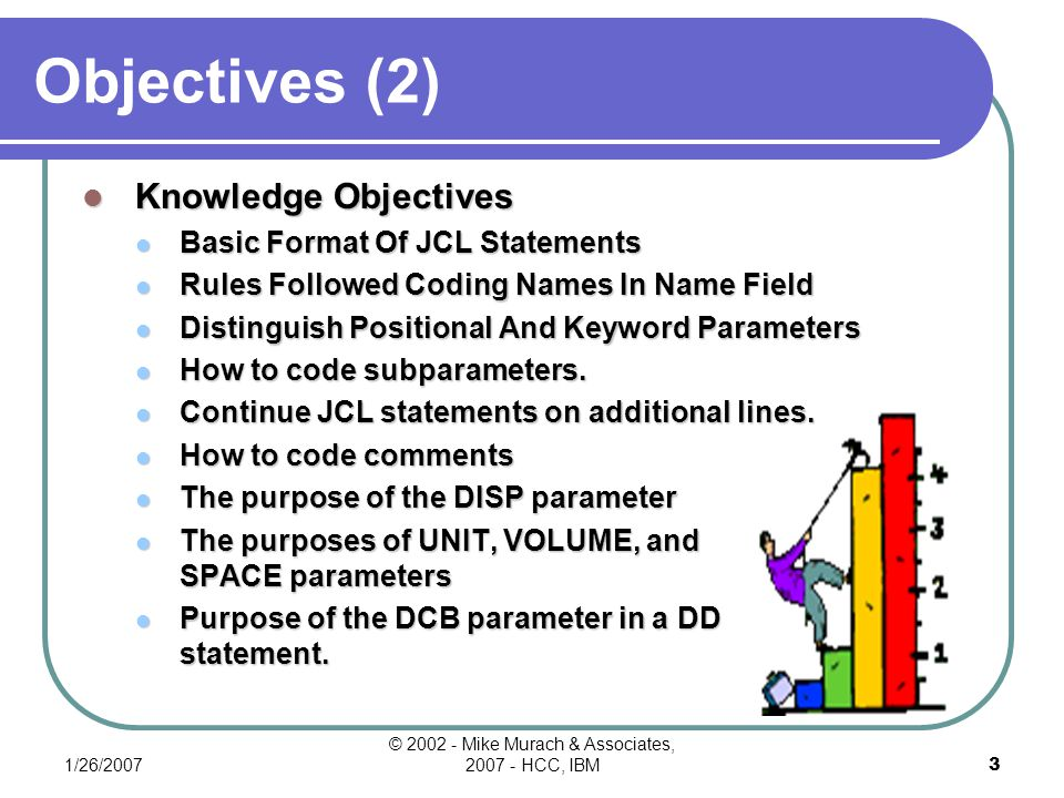 1/26/2007 © 2002 - Mike Murach & Associates, 2007 - HCC, IBM2 Objectives Applied Objectives Code A Valid JOB Statement Code An EXEC Statement Invoke A Program And Pass A Parameter Code A DD Statement For DASD Data Sets: A.