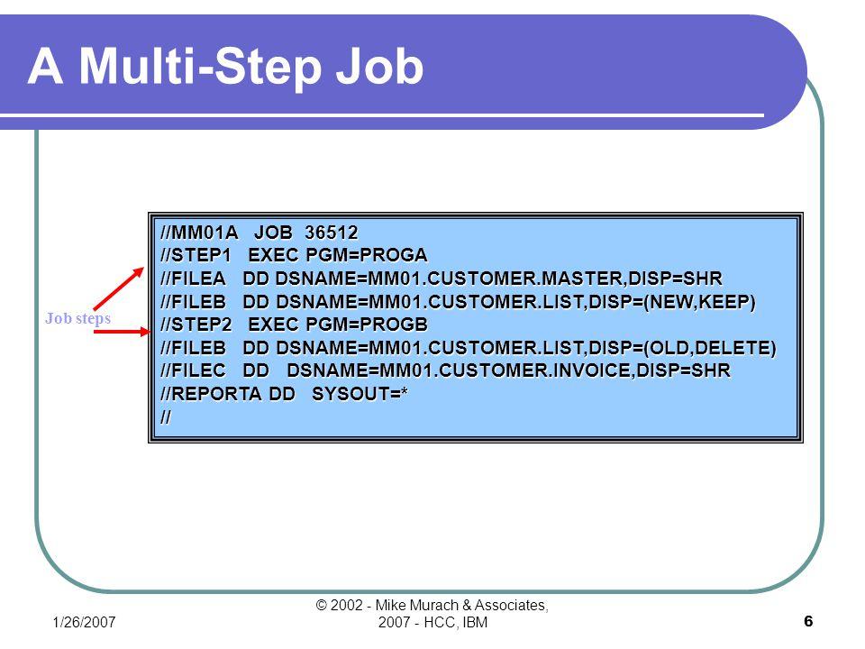 1/26/2007 © 2002 - Mike Murach & Associates, 2007 - HCC, IBM6 A Multi-Step Job Job steps //MM01A JOB 36512 //STEP1 EXEC PGM=PROGA //FILEA DD DSNAME=MM01.CUSTOMER.MASTER,DISP=SHR //FILEB DD DSNAME=MM01.CUSTOMER.LIST,DISP=(NEW,KEEP) //STEP2 EXEC PGM=PROGB //FILEB DD DSNAME=MM01.CUSTOMER.LIST,DISP=(OLD,DELETE) //FILEC DD DSNAME=MM01.CUSTOMER.INVOICE,DISP=SHR //REPORTA DD SYSOUT=* //