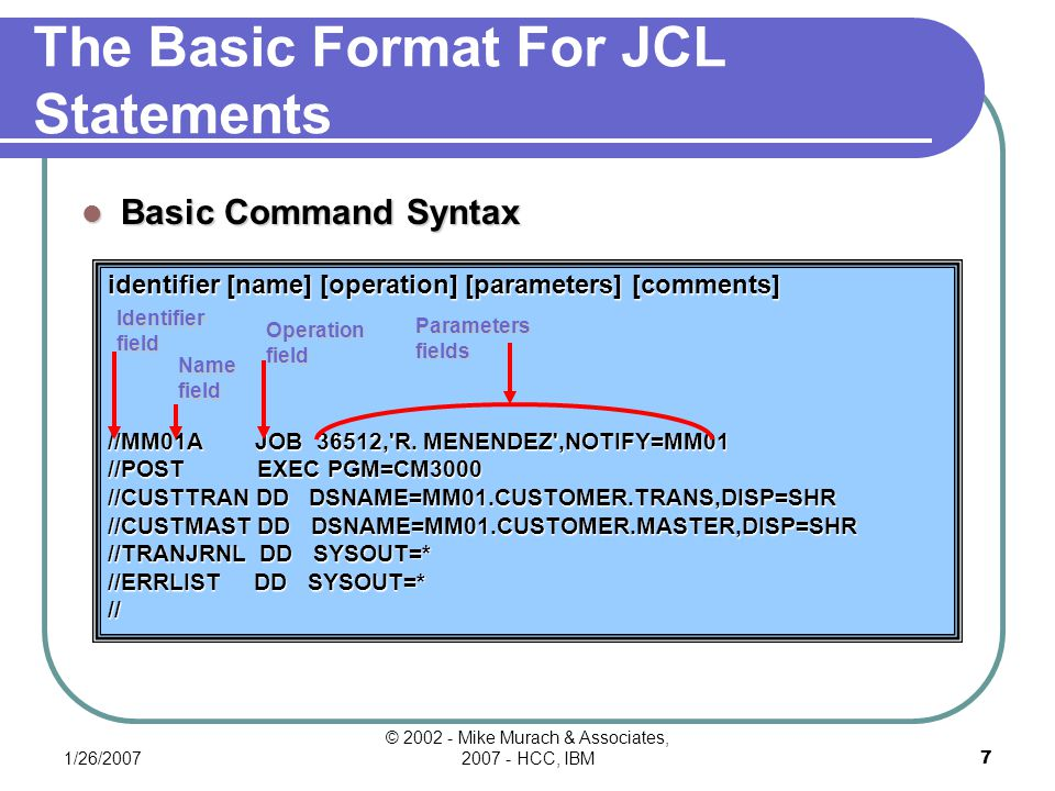 1/26/2007 © 2002 - Mike Murach & Associates, 2007 - HCC, IBM27 Name Associations Data set requirements for programs invoked by report-preparation application StepProgddnameData set name SORT1SORTSYSOUT(SYSOUT data set) SORTINMM01.ACCOUNT.MASTER SORTOUTMM01.ACCOUNT.MASTER.SORT SORTWK01(temporary work file) SYSIN(instream data set) AR7100AR7100ARSORTMM01.ACCOUNT.MASTER.SORT CUSTMASTMM01.CUSTOMER.MASTER DUNNINGMM01.DUNNING.FILE AR7200AR7200DUNNINGMM01.DUNNING.FILE ATB(SYSOUT data set) OVERDUE(SYSOUT data set)