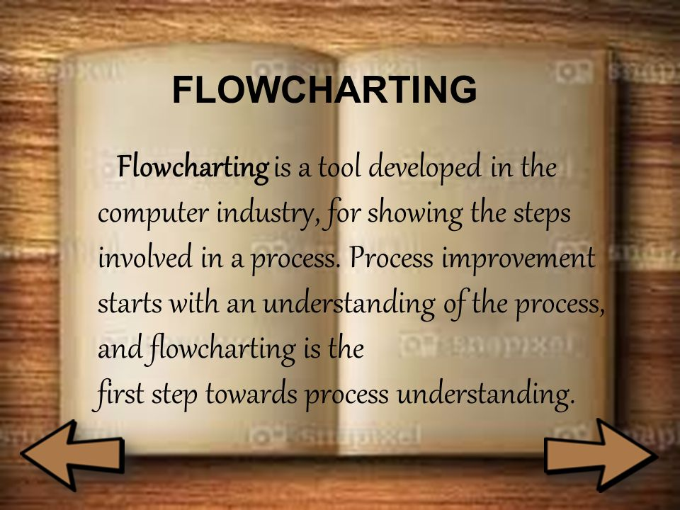 FLOWCHARTING Flowcharting is a tool developed in the computer industry, for showing the steps involved in a process. Process improvement starts with a