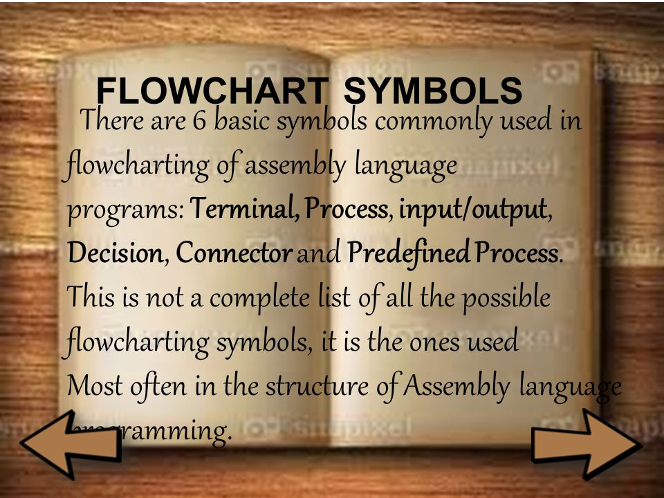FLOWCHART SYMBOLS There are 6 basic symbols commonly used in flowcharting of assembly language programs: Terminal, Process, input/output, Decision, Connector and Predefined Process.