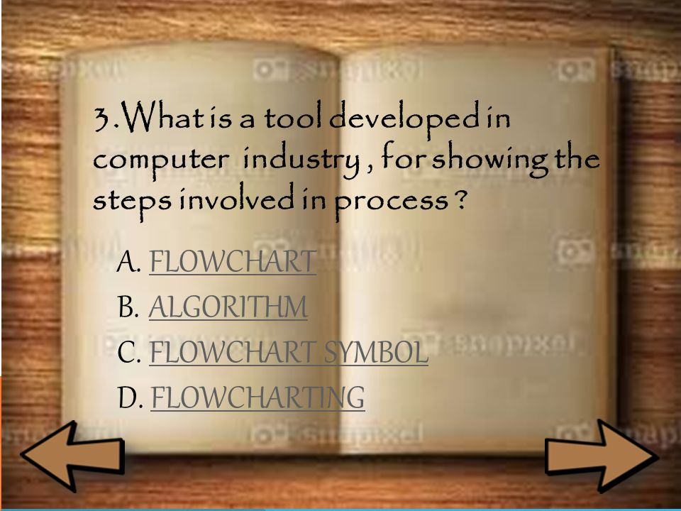 3.What is a tool developed in computer industry, for showing the steps involved in process ? A. FFLOWCHART B. AALGORITHM C. FFLOWCHART SYMBOL D. FFLOW
