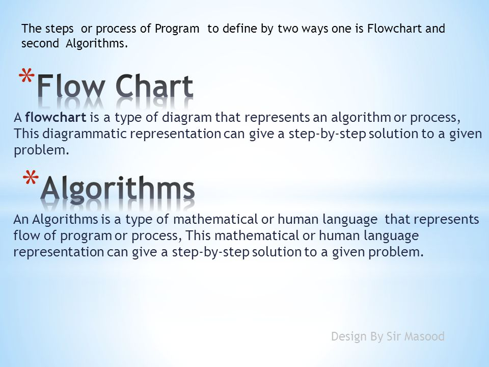 A flowchart is a type of diagram that represents an algorithm or process, This diagrammatic representation can give a step-by-step solution to a given problem.